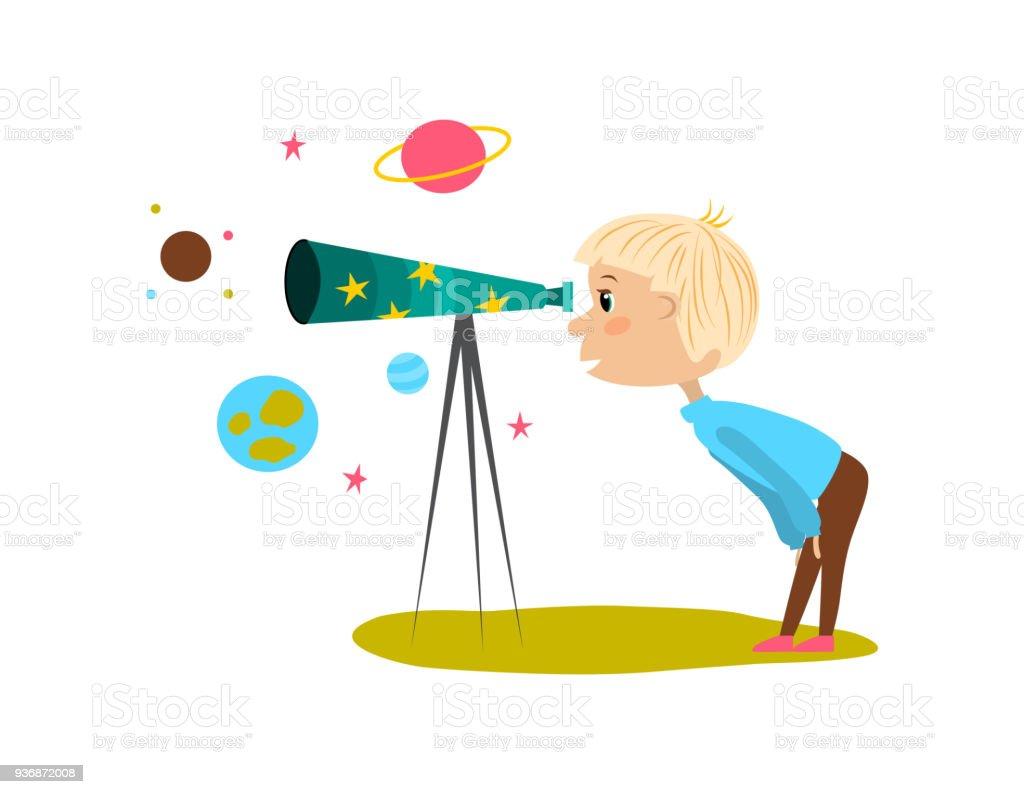 Uma ilustração vetorial de um jovem rapaz de olhar para as estrelas no céu usando um telescópio - ilustração de arte em vetor