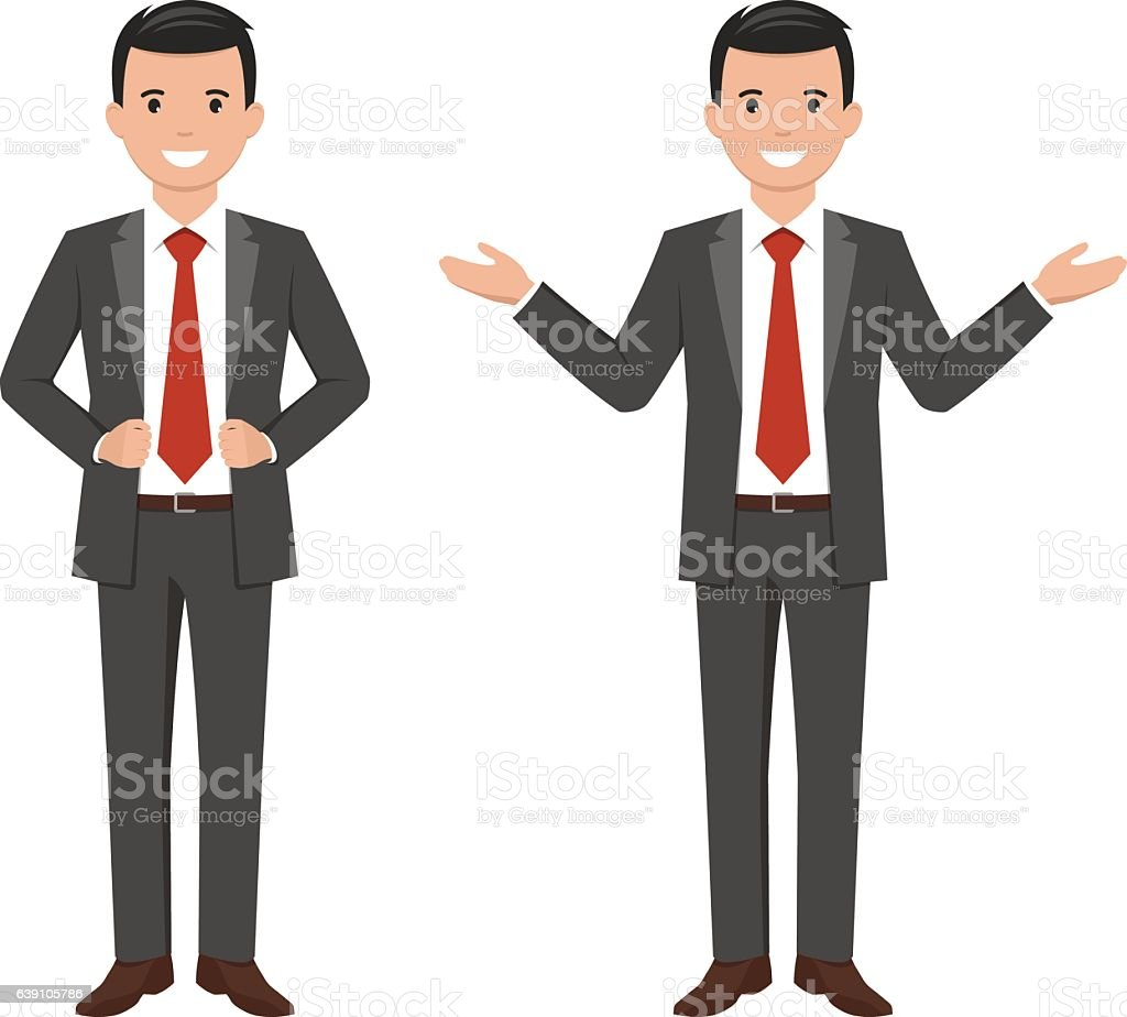 Vector illustration of a young cartoon style smiling businessman – Vektorgrafik