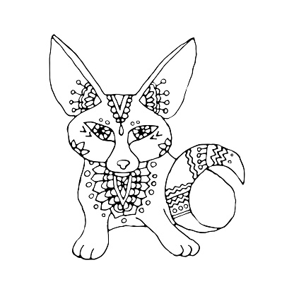 Vector illustration of a young fennec fox sitting. Coloring book or postcard, linear drawing in stained glass style. Patterns and botanical ornament