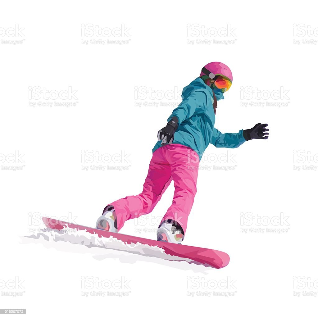 vector illustration of a young girl snowboarder vector art illustration