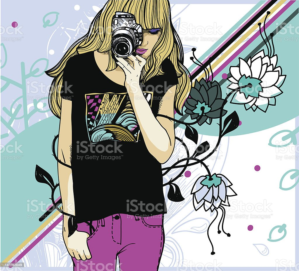 vector illustration of a young girl with  camera royalty-free vector illustration of a young girl with camera stock vector art & more images of abstract