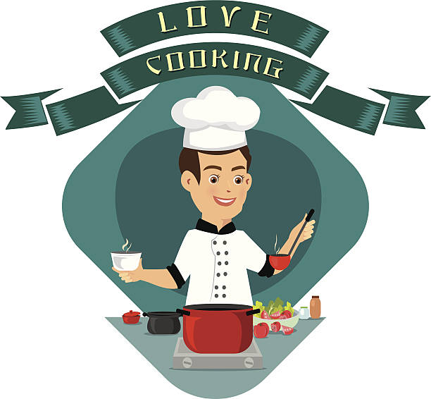 vector illustration of a young man cooking in the kitchen - busy restaurant kitchen stock illustrations