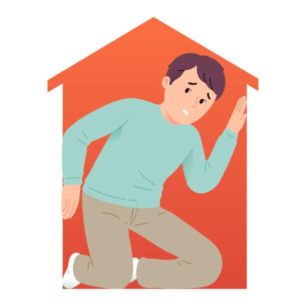 stockillustraties, clipart, cartoons en iconen met vectorillustratie van een jonge mens die een fobie van smalle ruimte of claustrofobie ervaart - claustrofobie