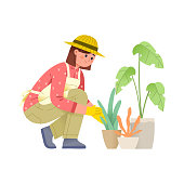 vector illustration of a young woman crouching while caring for plants or flowers in a pot, the concept of character gardening illustrations