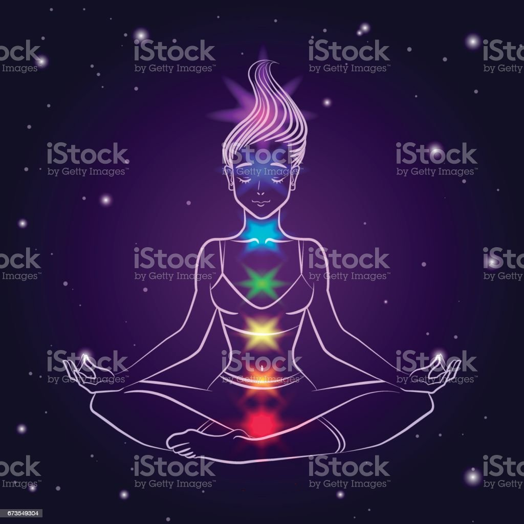 Vector illustration of a young woman in lotus pose with highlighted chakra colors. Line art royalty-free vector illustration of a young woman in lotus pose with highlighted chakra colors line art stock vector art & more images of adult