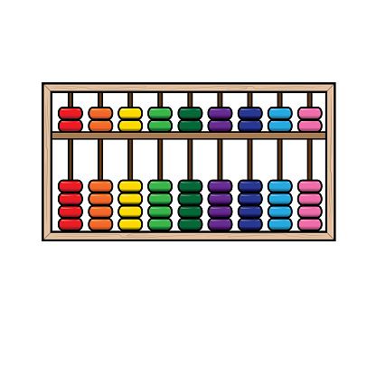 Vector illustration of abacus isolated on white background. School things and accessories concept. Education and school material, kids coloring page, printable, activity, worksheet, flash card.