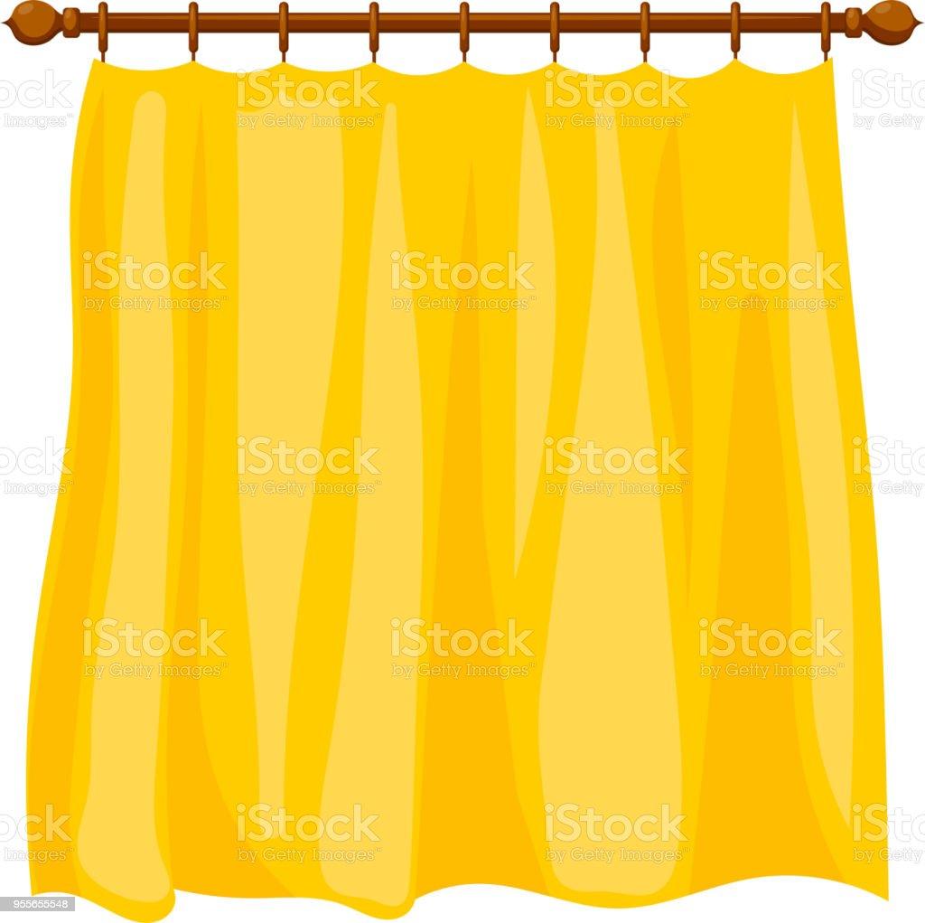 vectorillustratie van abstracte cartoon gele gordijnen op de richel op een witte achtergrond gesoleerde huishoudelijk