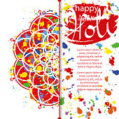 Vector Illustration of Abstract Colorful Happy Holi Festival Background. Indian Festival of Colours, Happy Holi celebration. Greeting Card, Invitation, Creative Flyer, Banner or Pamphlet design with Mandala