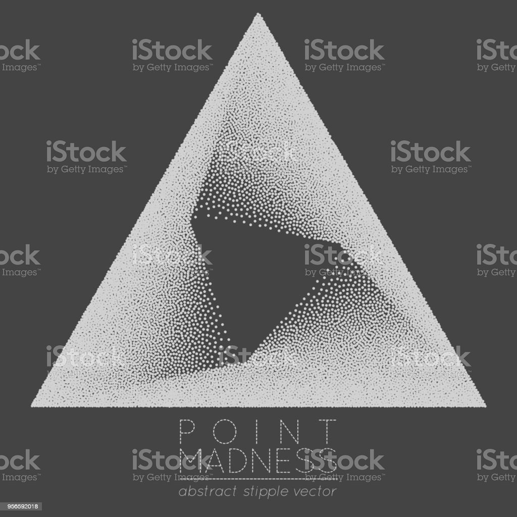 Vector Illustration Of Abstract Dotted Symbol Delta Fading Inside