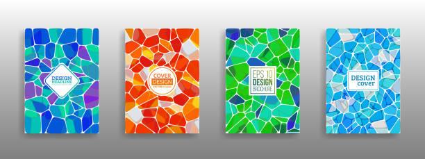 vektor-illustration der abstrakten vitrage abdeckung - mosaikglas stock-grafiken, -clipart, -cartoons und -symbole