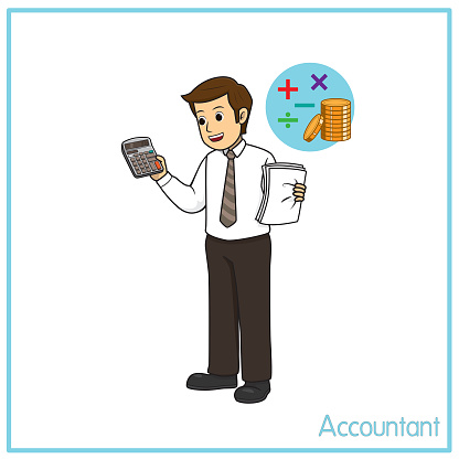 Vector illustration of accountant isolated on white background. Jobs and occupations concept. Cartoon characters. Education and school kids coloring page, printable, activity, worksheet, flashcard.
