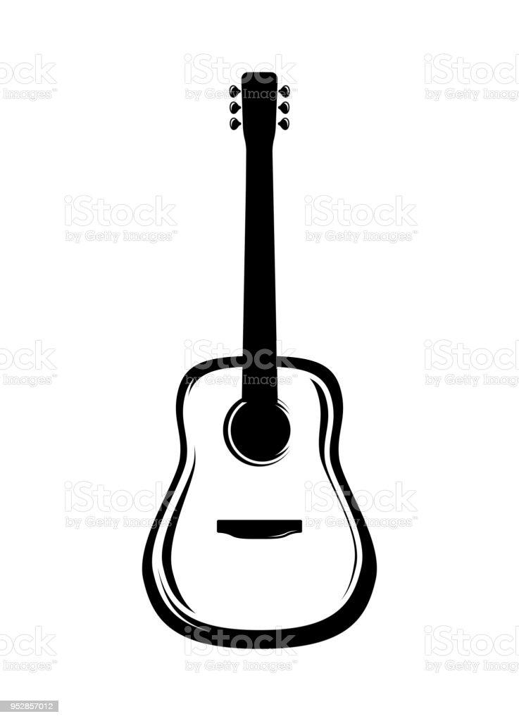 アコースティック ギターのベクトル イラスト アイコンのベクター