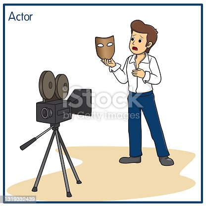 istock Vector illustration of actor isolated on white background. Jobs and occupations concept. Cartoon characters. Education and school kids coloring page, printable, activity, worksheet, flashcard. 1319332439
