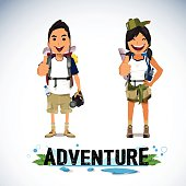 A vector illustration of adventure tourism with text Adventure