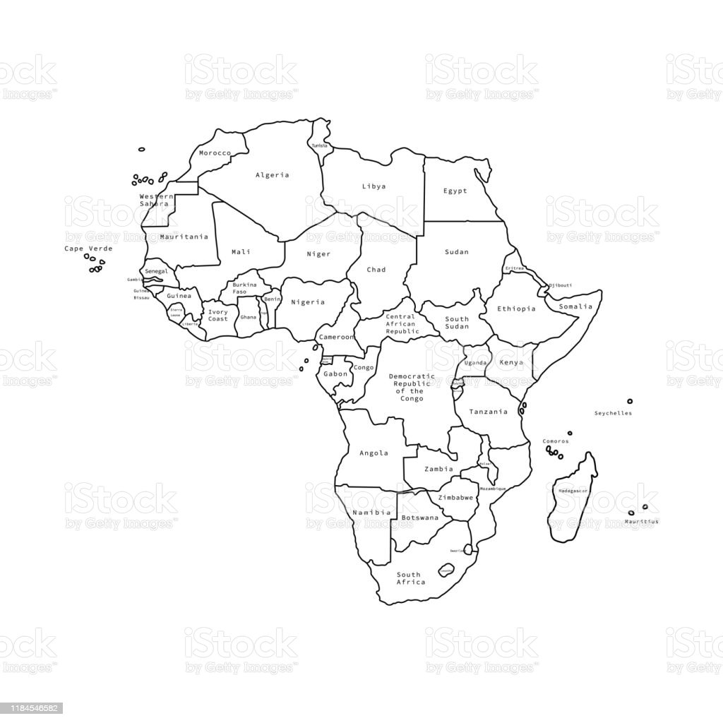 Vector Illustration Of Africa Black Outline Map With Countries Vector Map Stock Illustration Download Image Now Istock