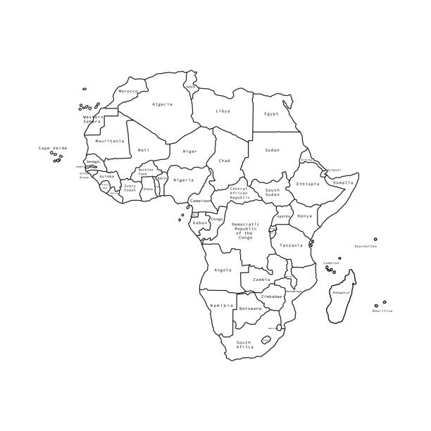 vector illustration of africa black outline map with countries. vector map. - senegal stock illustrations