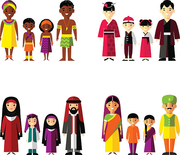 Vector illustration of african, asian, arab, indian family Set of international family dressed in national costumes indian family stock illustrations