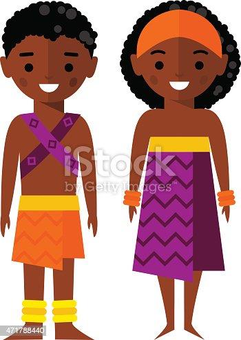 Vector Illustration Of Africanamerican Children Stock ...