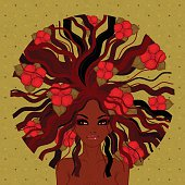 vector illustration of Afro-American girl
