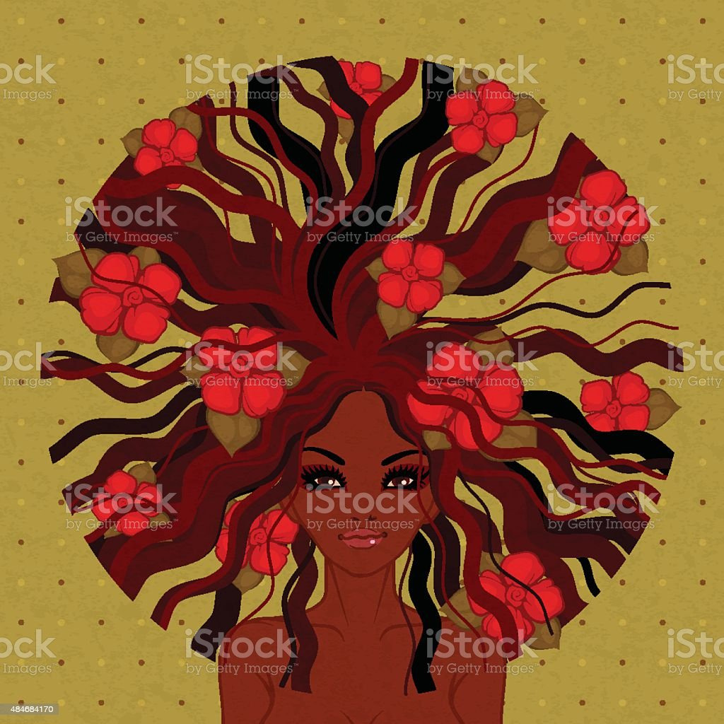 vector illustration of Afro-American girl vector art illustration