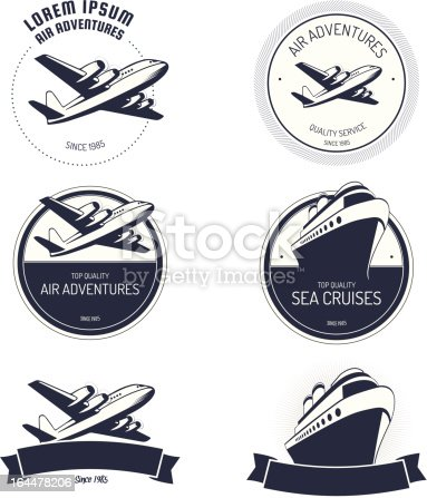 Vintage air and cruise tours labels and badges.