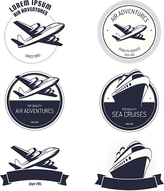 Vector illustration of air and cruise tours icons Vintage air and cruise tours labels and badges. cruise vacation stock illustrations