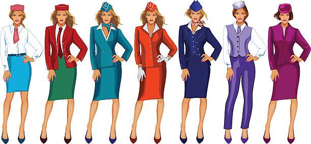 stockillustraties, clipart, cartoons en iconen met vector illustration of air hostess in uniform and formal hat. - stewardess