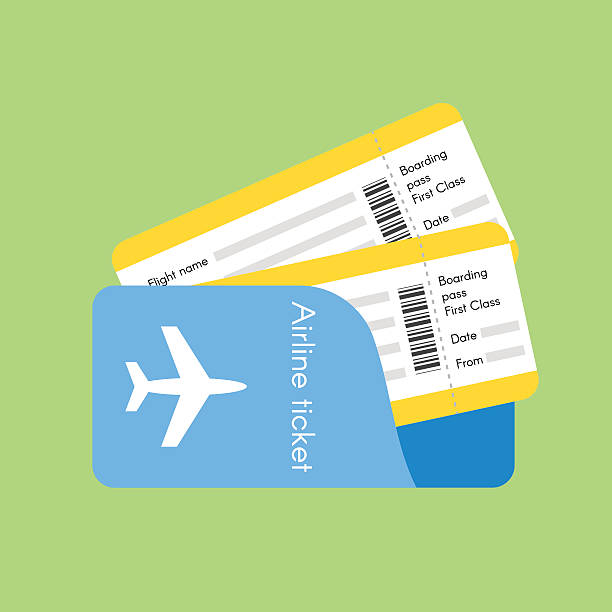 Vector illustration of airline tickets. Vector illustration of airline tickets. Flat style. airplane ticket stock illustrations