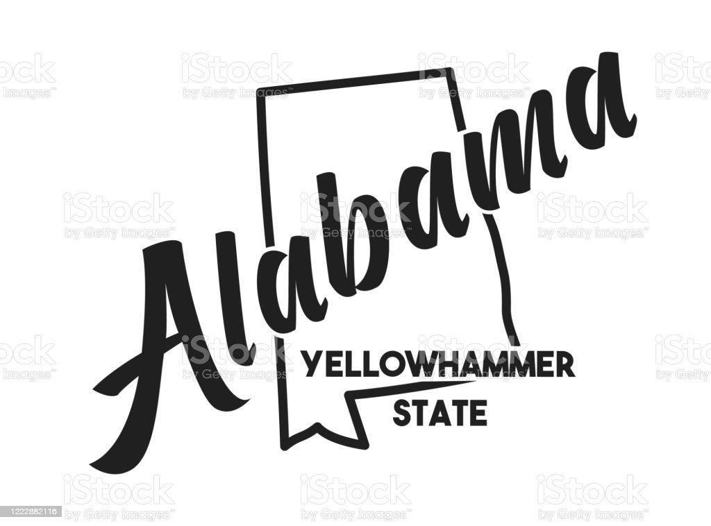 State Design  Alabama Print  Picture  Hand Drawn Art Alabama Poster