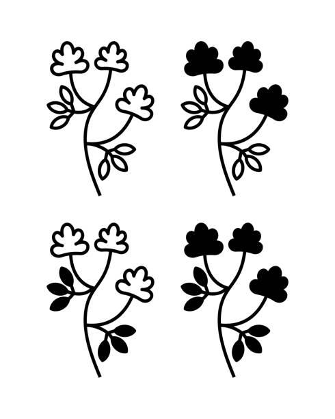 illustrazioni stock, clip art, cartoni animati e icone di tendenza di vector illustration of alfalfa plant with flowers - erba medica
