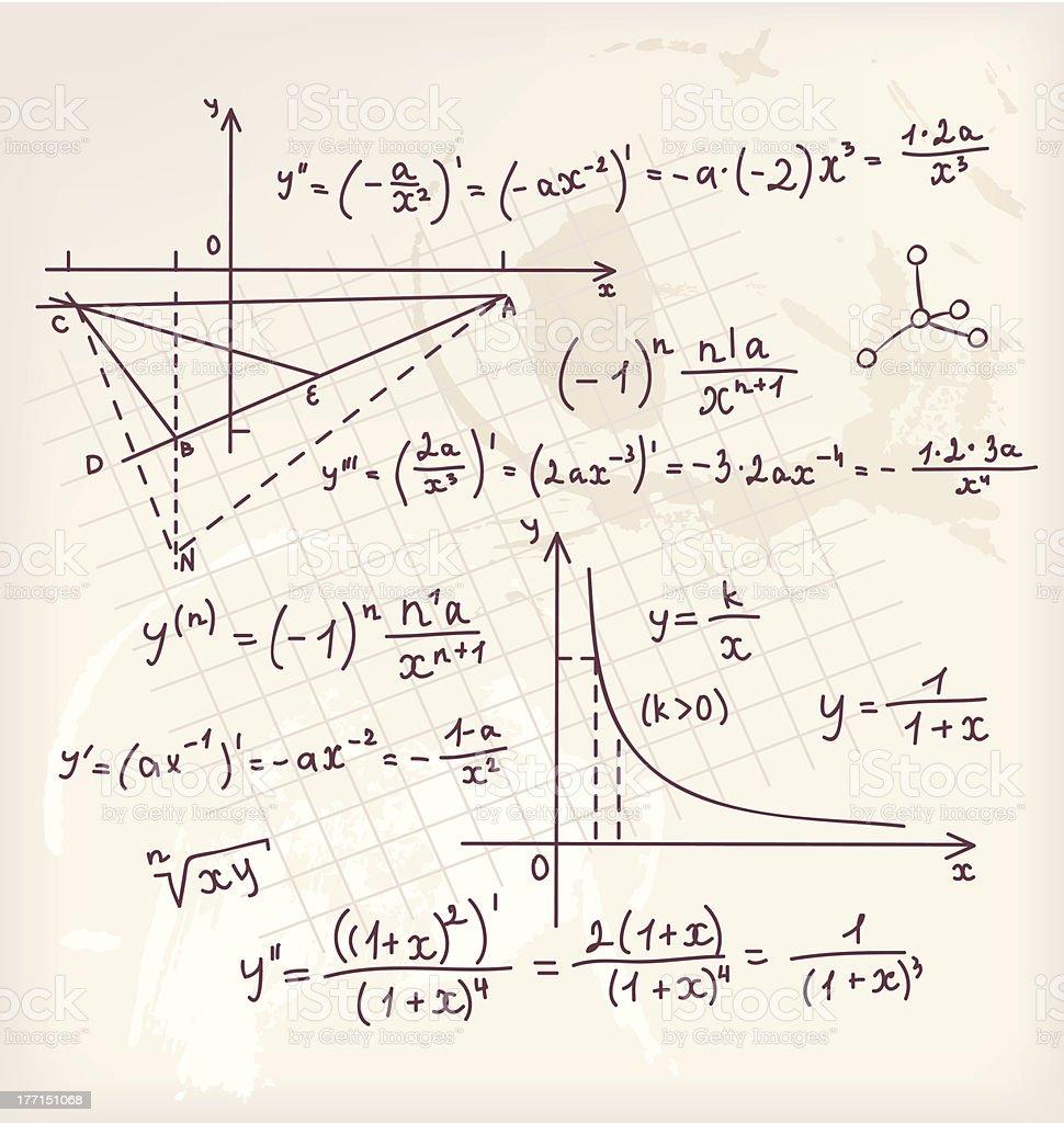 Vector illustration of Algebra doodle background royalty-free stock vector art