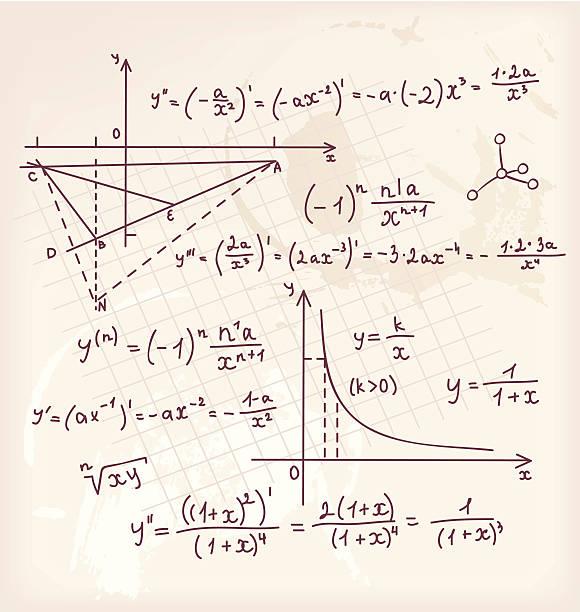 vektor-illustration von algebra doodle hintergrund - geometriestunde grafiken stock-grafiken, -clipart, -cartoons und -symbole