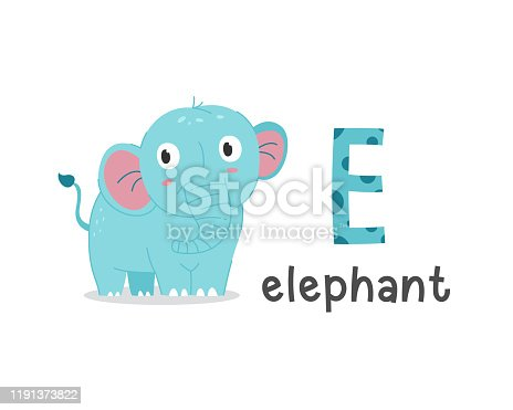 istock Vector illustration of alphabet letter E and elephant 1191373822