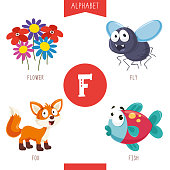 Vector Illustration Of Alphabet Letter F And Pictures