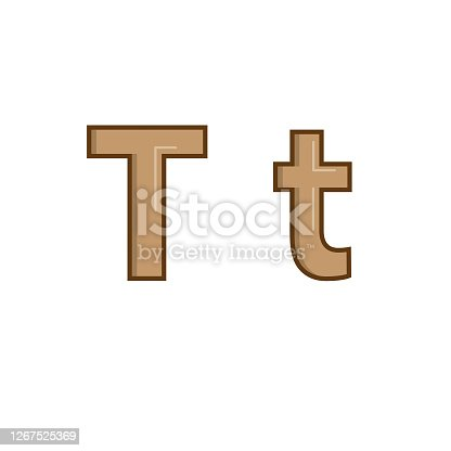 Vector illustration of alphabet Letter T in uppercase and lowercase formats for children learning practice ABC.