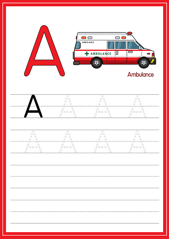 Vector illustration of Ambulance isolated on a white background. With the capital letter A for use as a teaching and learning media for children to recognize English letters Or for children to learn to write letters Used to learn at home and school.