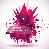 Vector illustration, abstract object, explosion substance matter. Abstract object with the image of the explosion.