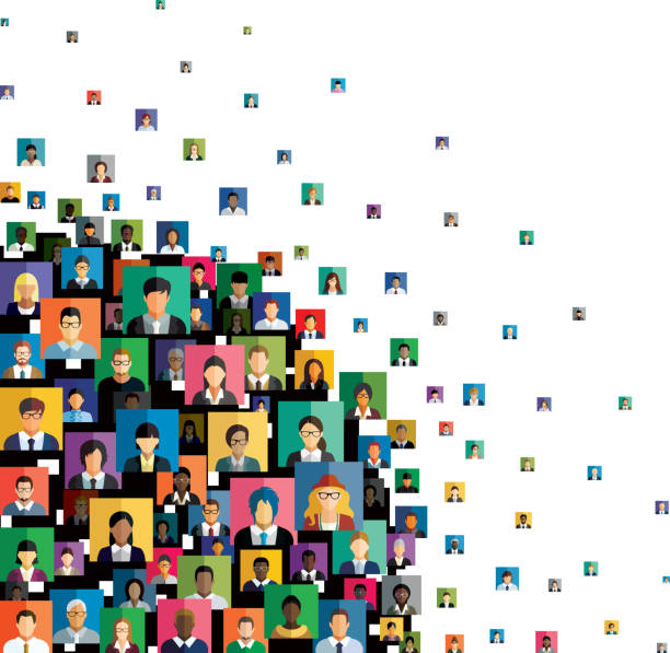 Vector illustration of an abstract scheme, which contains people icons. Social network scheme, which contains multicolored flat people icons. vr stock illustrations