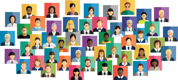 vector illustration of an abstract scheme, which contains people icons. - virtual meeting stock illustrations