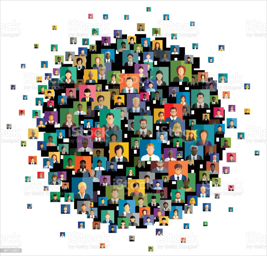 Vector illustration of an abstract scheme, which contains people icons