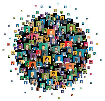 사람 아이콘을 포함 하는 추상 체계의 벡터 일러스트 레이 션 가상현실에 대한 스톡 벡터 아트 및 기타 이미지