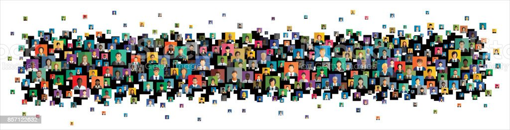 Vector illustration of an abstract scheme, which contains people icons vector art illustration