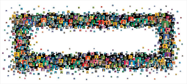 Vector illustration of an abstract scheme, which contains people icons Social network scheme, which contains flat people icons. community borders stock illustrations