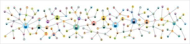 Vector illustration of an abstract social network scheme, which contains people icons connected to each other. – Vektorgrafik