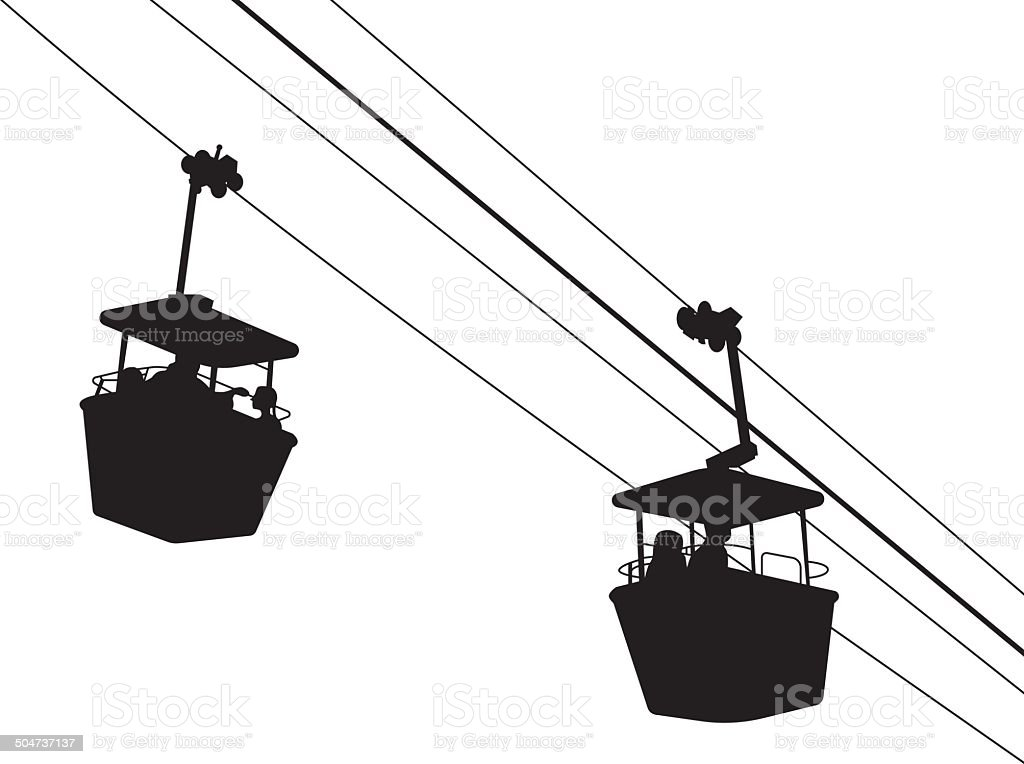 Vector illustration of an aerial tram silhouette with two gondolas vector art illustration