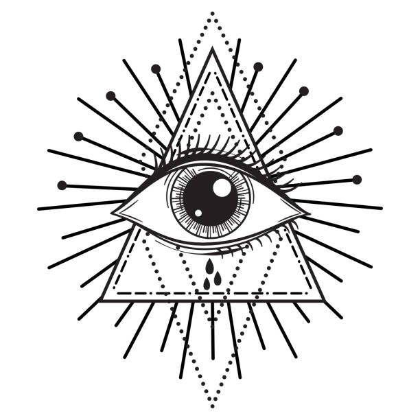 vector illustration of an all-seeing occult or masonic eye - третье око stock illustrations