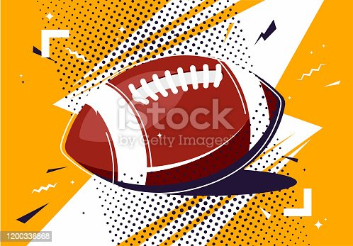 istock Vector illustration of an American football ball in pop art style 1200336868