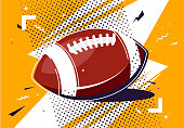 Vector illustration of an American football ball in pop art style