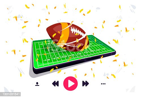 istock Vector illustration of an American football field on a mobile phone screen, a football ball lies in the center of a football field, online broadcast using a player via a smartphone, golden confetti 1331031541