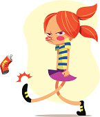 A cartoonish drawing of an angry young girl walking and kicking an empty soda can in frustration